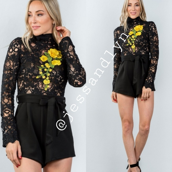 e40a04a6fb21 🆕KELS High neck embroidered belted romper